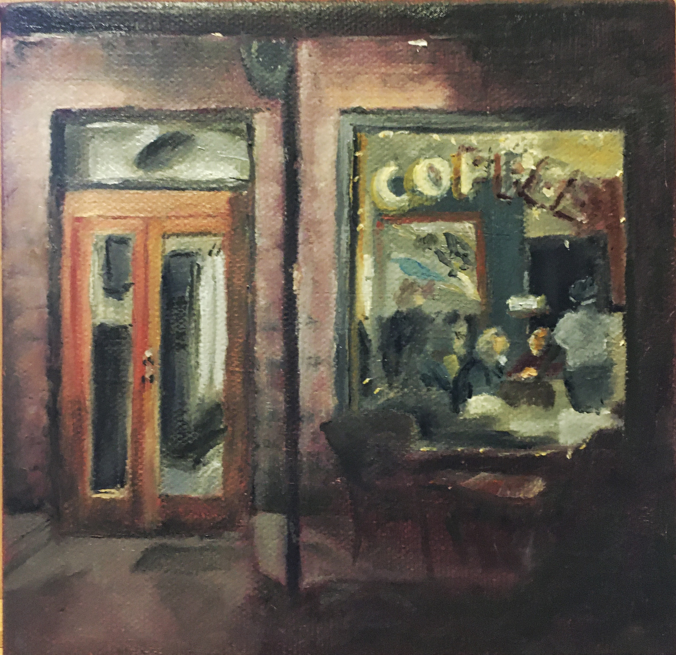 Painting of people in a coffee house